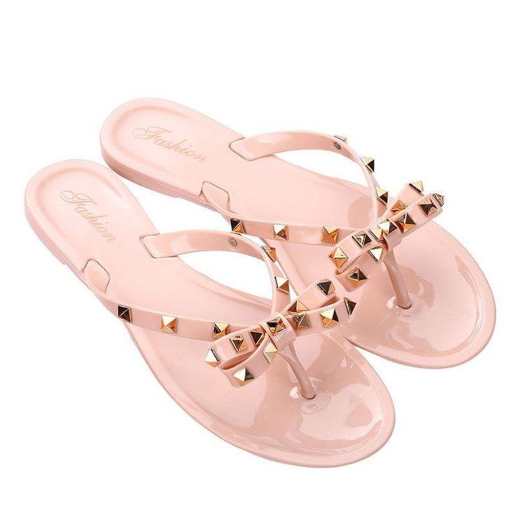 Summer Beach Sandals Slim Flip-Flops Slippers Shoes Women Slippers Rivets Slippers