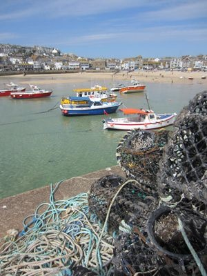 St Ives harbour with fishing boats and pots  #Cornwall
