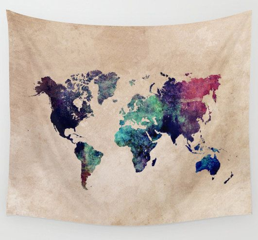 Cold World Map wall tapestry map of the world tapestry by JBJart