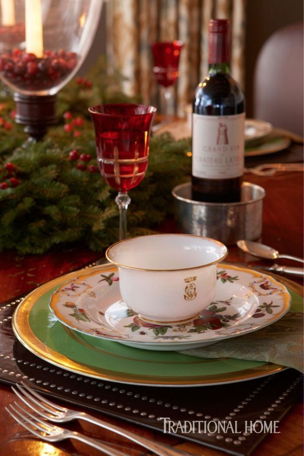 A Mix Of The Homeowners Own China Sits Atop Studded Placemats On Festive Dining Room Holiday DecorationsChristmas