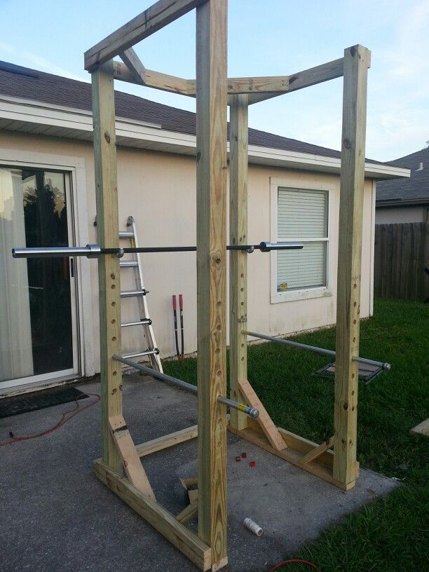 I like the angle braces. I think I'd add extra stability on the bottom with a larger base. Also, add the pull-up bar to the top.