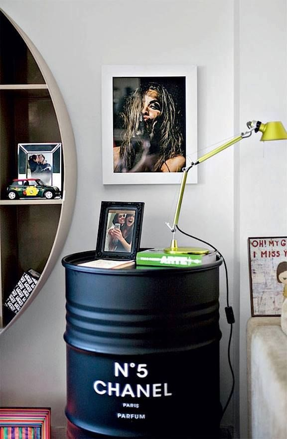 The yellow TOLOMEO Micro on a Chanel Perfume bedside table!  Design Michele De Lucchi & Giancarlo Fassina détournement d'objet