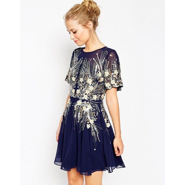 ASOS Gold And Navy Sparkle Mesh Skater Dress