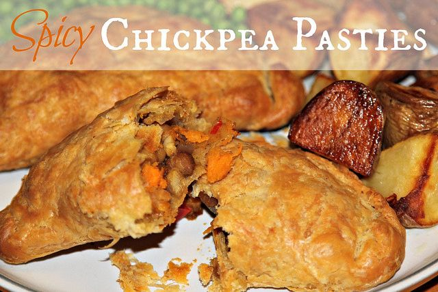 Spicy chickpea pasties - vegetarian & vegan recipe, easy to make ahead and freeze