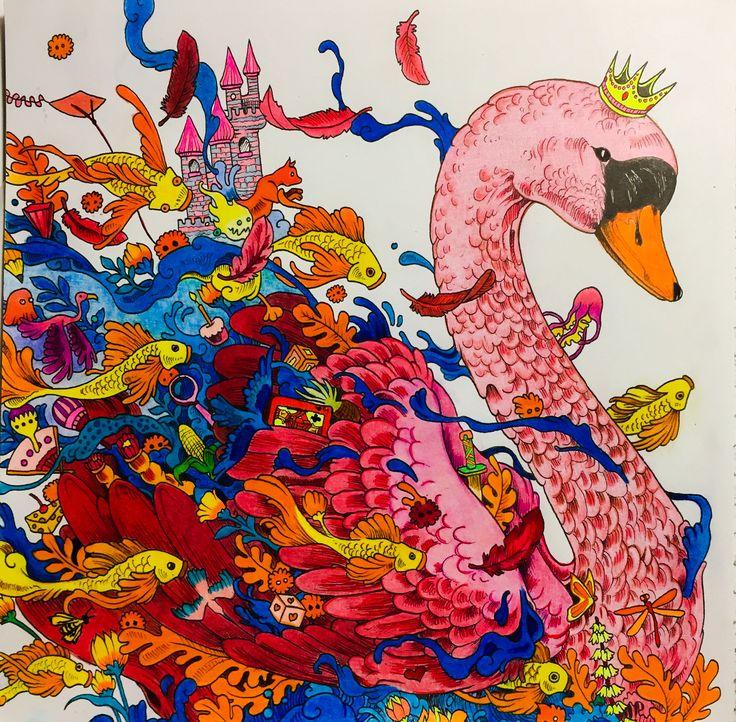 #imagimorphia #Kerby Rosanes # #female swan #adult colouring coloured by Judy Boechler