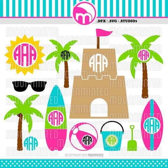 Summer Beach SVG / DXF / Studio3 Cut Files  Monogram by MoonMinted
