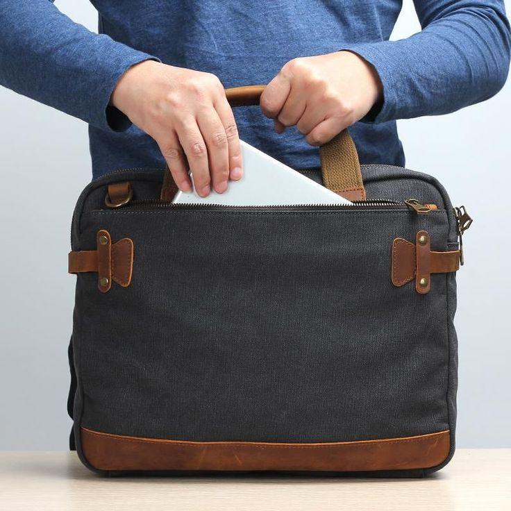 Canvas Laptop Bag, Business Bag, Canvas Shoulder Bag JC013