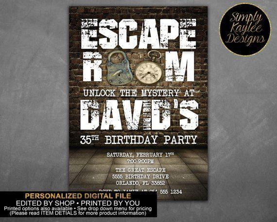 Escape Room Birthday Invitation Etsy Birthday Party Invitations Birthday Invitations Invitations