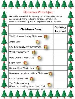 Christmas Carol Music Quiz FREEBIE   This is an aural discrimination activity based on the recognition of intervals