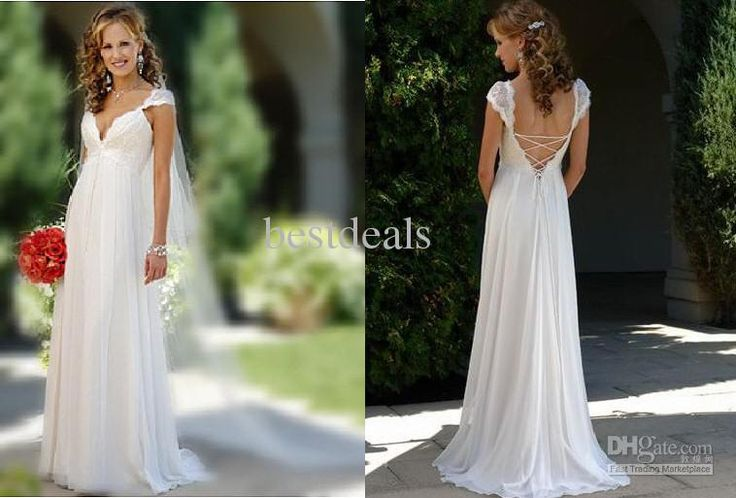 Sexy Summer Deep V Neck Lace Ruffle Floor-Length Sheath Wedding Dresses | Buy Wholesale On Line Direct from China