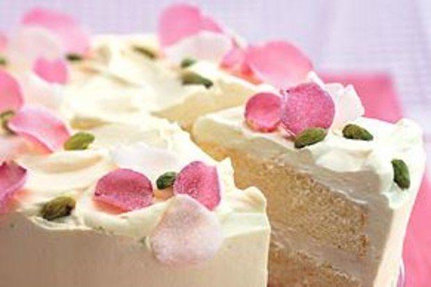 This chiffon cake filled with rose-scented whipped cream is inspired by the aromatics found in Persian, Turkish, and Indian confections. Cardamom seeds have more flavor than the ground powder and are like little explosions of spice in the cake.