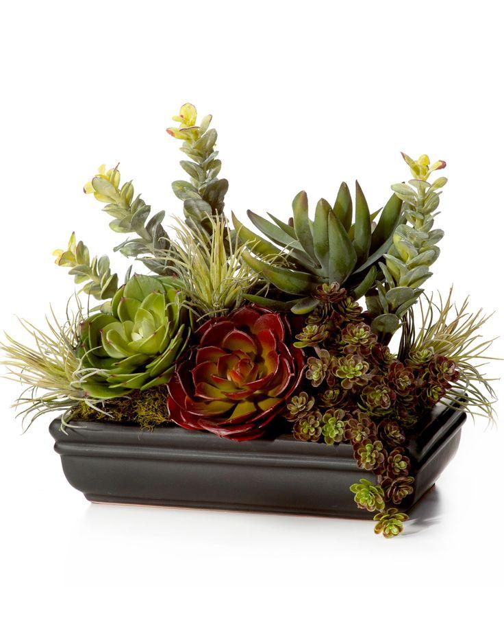 Faux Succulent Planter GREEN