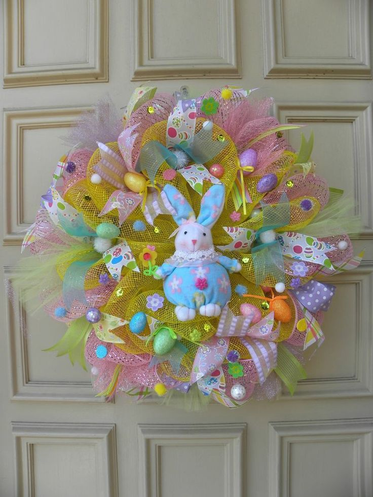 """One of a kind"" Easter Deco Mesh Wreath - Handmade - Decoration - Bunny - Decor"