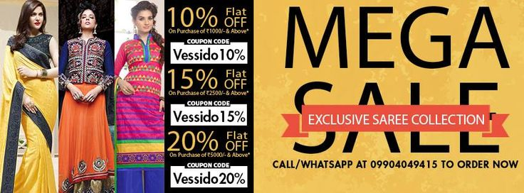 Buy Exclusive Indian Saree Collection from Vessido.com offering huge Mega sale offer. Get the coupon code and order now.