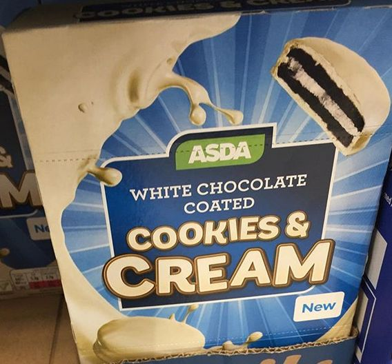 Asda White Chocolate Coated Cookies & Cream Flavored Cookies (uk)