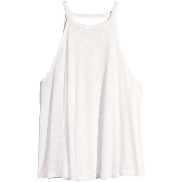 H&M Top in slub jersey ($12) ❤ liked on Polyvore featuring tops, shirts, tank tops, white, h&m tank tops, white singlet, white tank top, shirts & tops and deep v neck tank top