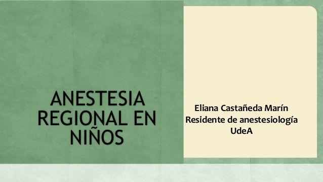 Anestesia regional en niños