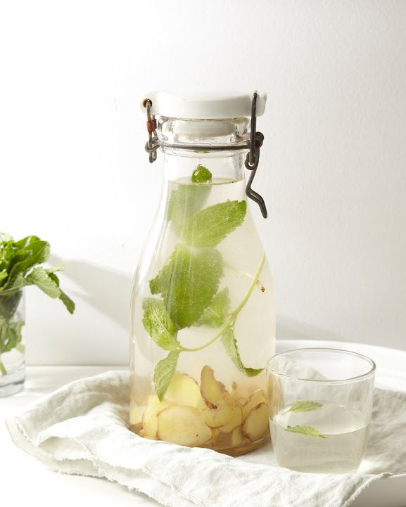 Ginger Mint water   Tip: The longer the ingredients steep, the stronger the flavour will be, so mix this up a few hours ahead of time.