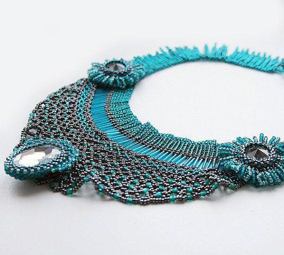 beadwoven collar beaded collar beaded necklace by koralikowyraj