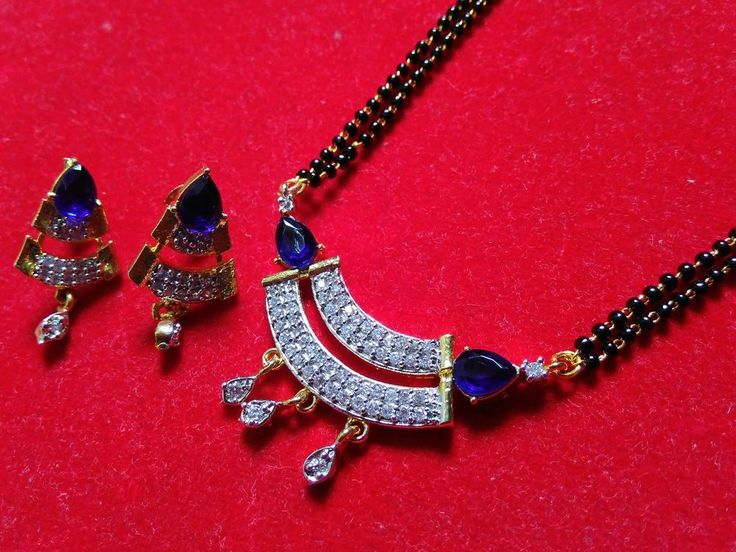 22k gold plated designer american diamond mangalsutra with black beads chain-2