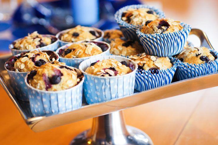 Muffins med blåbær og banan