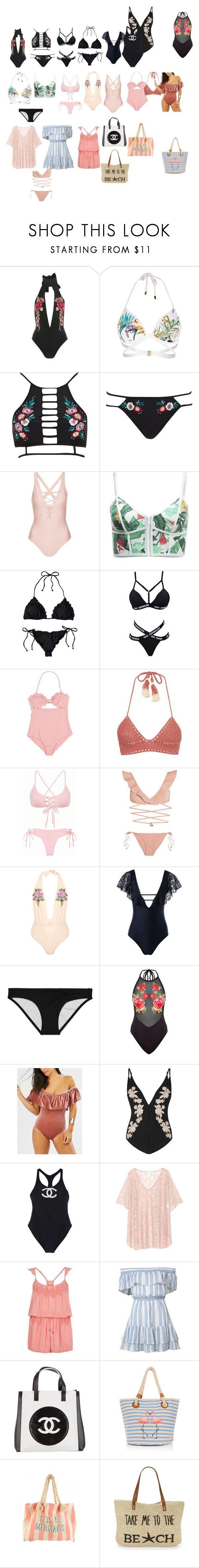 """gabi demartino inspired swimwear/beach essentials"" by novaturient98 ❤ liked on Polyvore featuring Rare London, River Island, Topshop, Duskii, SHE MADE ME, Zimmermann, Victoria's Secret, Chanel, Melissa Odabash and LoveShackFancy"