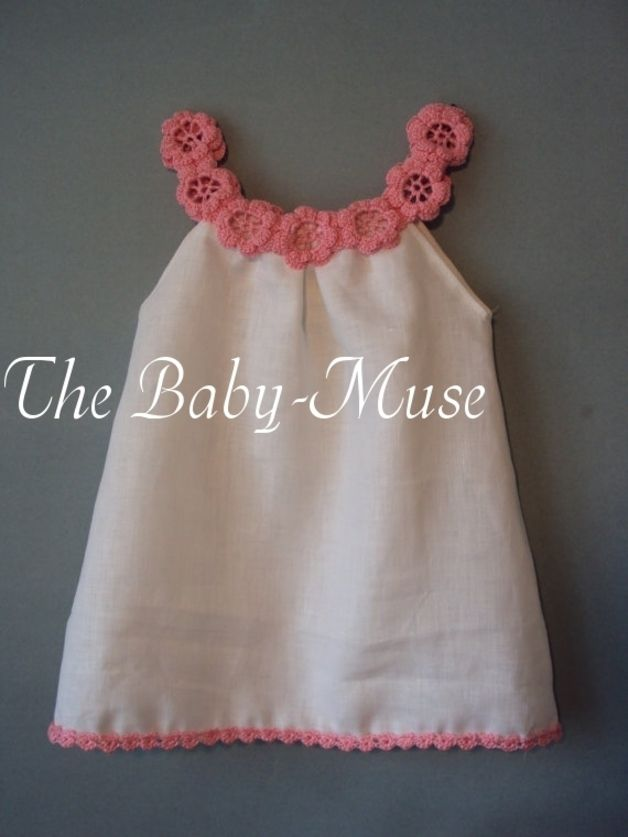 """""""Linen organic girl baby tollders dress For the girl or baby, it is possible to wear a dress as a tunic. The neck is decorated with a wreath from hand crocheted flowers. """"The bright pink yarn are..."""