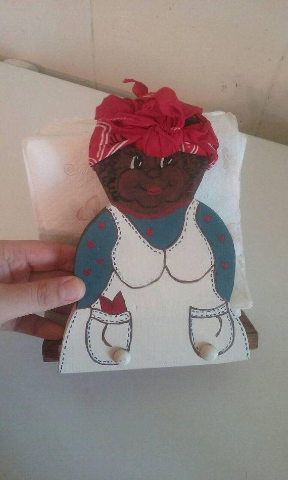 Black Americana Napkin Holder by TheBuddingHomemaker on Etsy