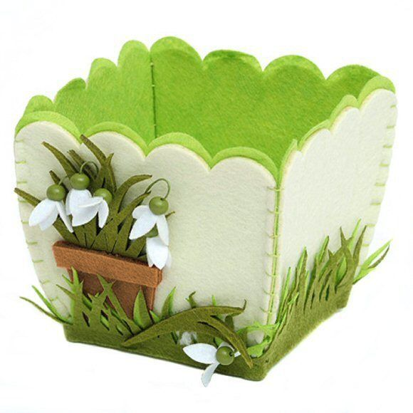 Easter/Spring Felt Pot With Felt Snowdrops - Decorative Felt Pot