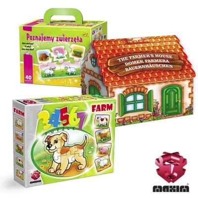 Zestaw 3 gier edukacyjnych i puzzli z motywem zwierzątek.W skład zestawu wchodzi:-POZNAJEMY ZWIERZĘTA-DOMEK 3D Domek Farmera-Puzzle 34567 FARMAW ZESTAWIE MAXIM TANIEJ!