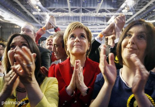 SNP leader Nicola Sturgeon reacts as results come in at a Scottish Parliament election count at the Emirates Arena in Glasgow, Scotland. Photo by Danny Lawson