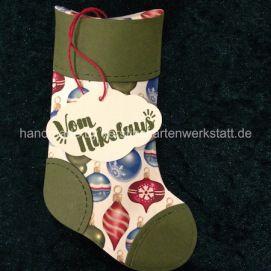 Socken Glocken, gestaltet mit den Thinlits Formen geschmückter Stiefel von Stampin Up