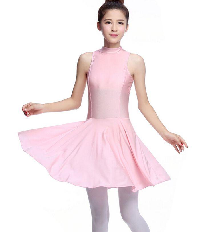 Women's Sleeveless Ballet Dance Dress Leotards PINK, XL(Asian Size)