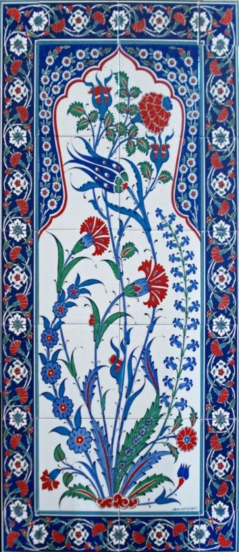 İznik Çinisi-60x120 el dekor çini-İznik karanfilli pano ED-25 A | Ceramicaturk | İznik