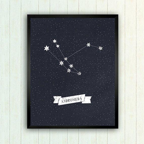 Printable Art-Andromeda Constellation-Astronomy by deerandmoon