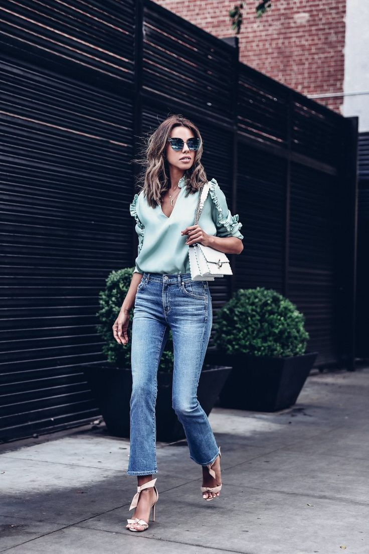 Sandro Mint Silk Top With Long Frilled Sleeves | Quay Lexi Sunglasses | Fendi Kan I Mini Leather Shoulder Bag | Cheap Monday Kick Spray Jeans In Blue Noise | VivaLuxury
