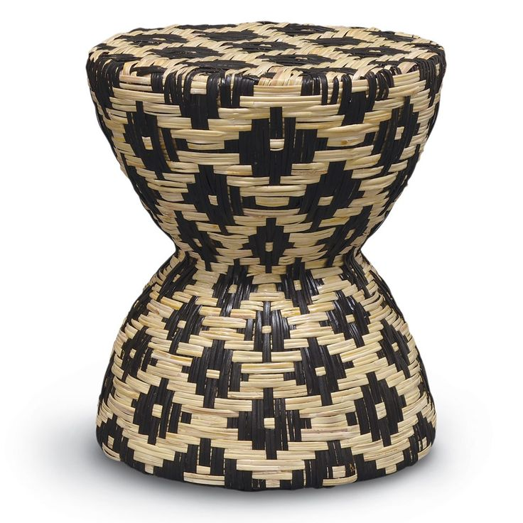 Stool/table features natural and black split rattan hand-woven over a cast stone frame.