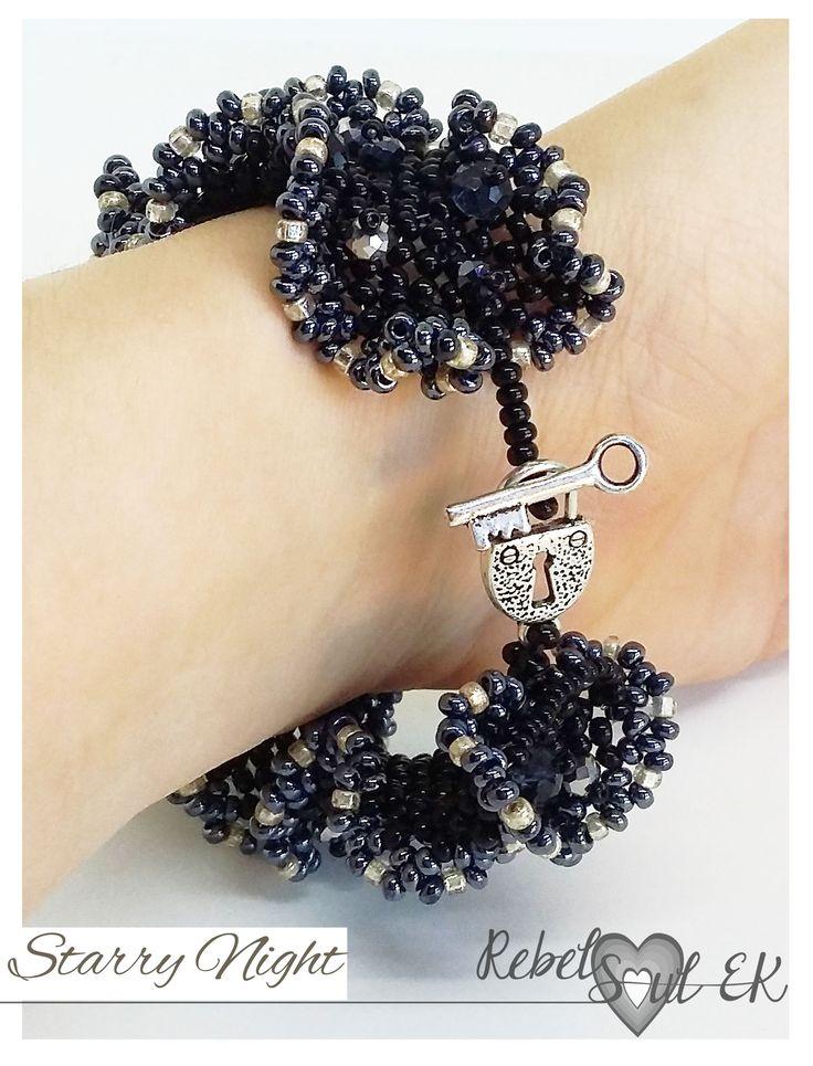 Starry Night Seed Bead Bracelet, black bead bracelet, black dress jewelry, beadwork bracelet, cocktail party, galaxy bracelet, sparkly