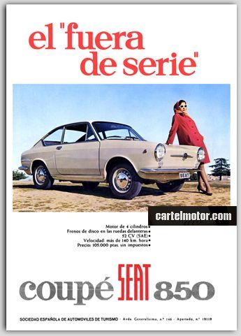 Carteles antiguos de publicidad- Seat 850 Coupé 1967