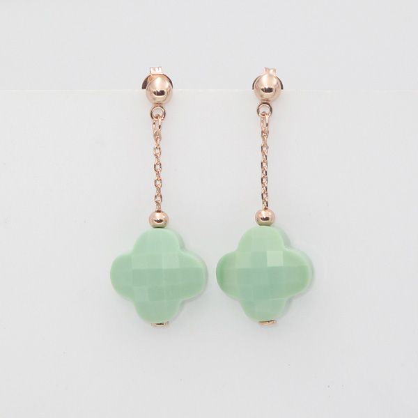Morganne Bello Jewelry Rose Gold Plated Four Leaf Clover Crystal Earrings  For Women Gift 12 Colors