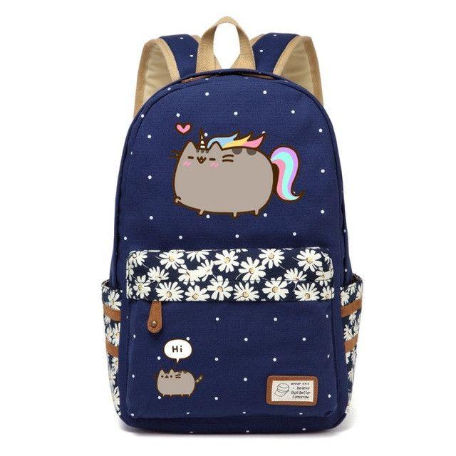 Pusheen Cat Canvas bag unicorn Flower wave point Rucksacks backpack for teenagers Girls women School Bags travel Shoulder Bag