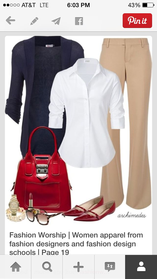 Navy and camel, with a pop of red. Love it!