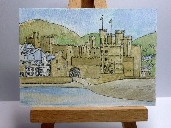 An original ink and watercolour painting of Caernarfon Castle in North Wales.  It is ACEO size - 6.4cm x 8.9cm (2.5 x 3.5).  I have used artist