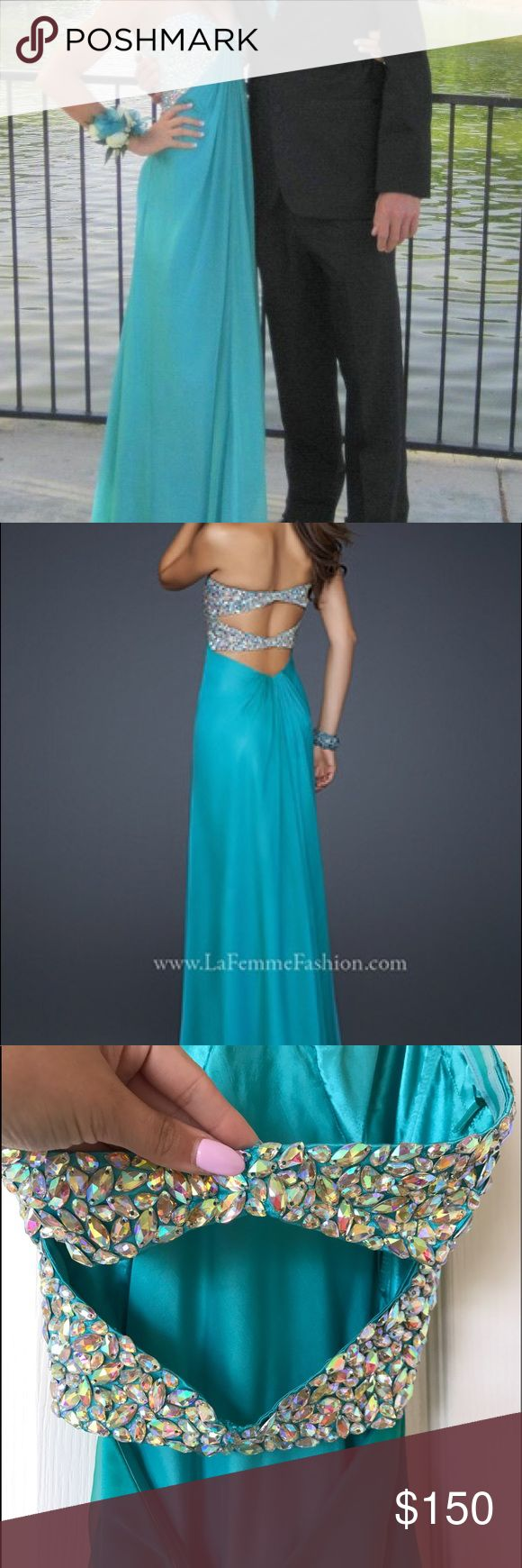 La Femme Turquoise Gown Prom Dress La Femme Prom Dress, teal. Worn only once. Size 00. All rhinestones still in tact. :) La Femme Dresses Prom