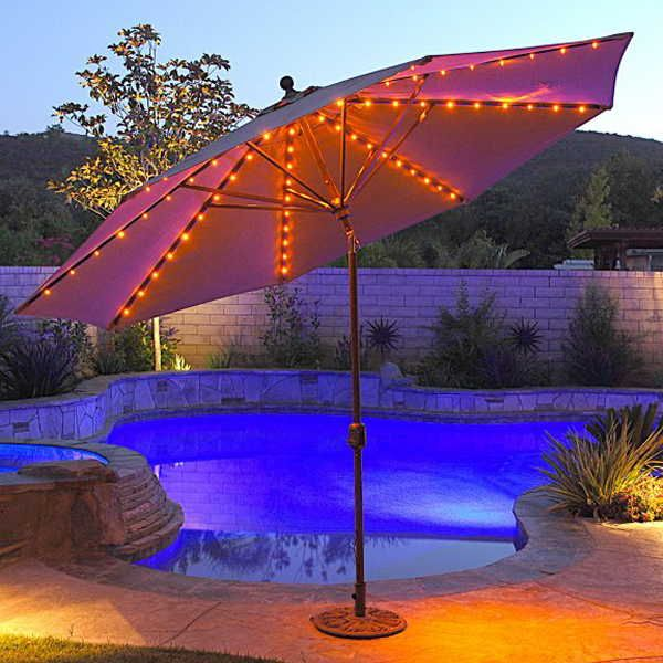 LED Lighting Ideas Decorate The Patio With Umbrella Large And Beautiful
