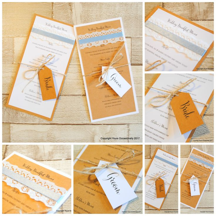 Evening YOs, I hope you're all well and remembered to go and vote today!   These lovely wedding breakfast menu samples made their way out of the door today, the bride wanted to bring a tiny touch of colour into her rustic themed wedding.  These are DL size so the menu fits on nicely.  The tag wrapped around it will double up as the place card for the guest.  A nice little keepsake.