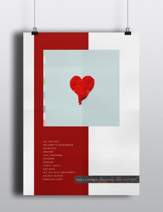 Kanye West Poster 808s Heartbreak Music Album Cover American Rapper Hip Hop Artist Print Hip Hop Artists Album Covers American Rappers
