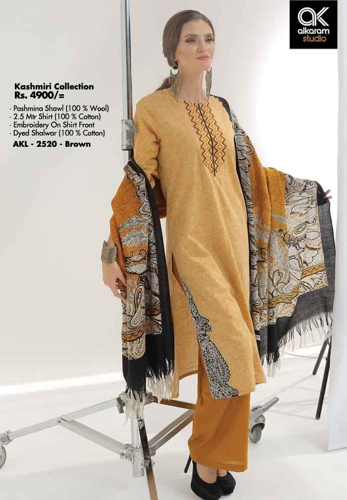AKL 2520 - Brown Rs. 4900/- Pashmina Shawl (100 % Wool) 2.5 Mtr Shirt (100 % Cotton) Embroidery On Shirt Front Dyed Shalwar (100 % Cotton)  www.alkaramstudio.com