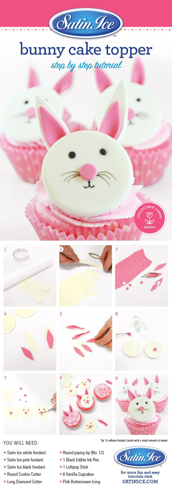 DIY Easy Fondant Easter Bunny Cupcakes by Satin Ice!