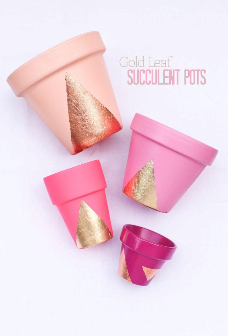 DIY pink and gold leaf succulent plant pots